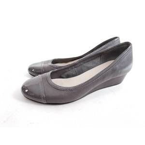 COLE HAAN Patent Leather Cap Toe Stacked Wedge